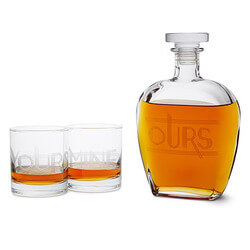 Yours, Mine, and Ours Engraved Decanter Set