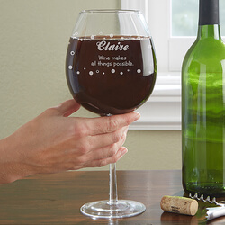 Personalized Whole Bottle Wine Glass