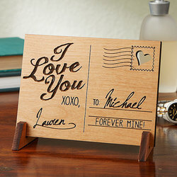 Personalized Romantic Wood Postcard