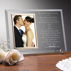 Personalized Wedding Invitation Glass Picture Frame
