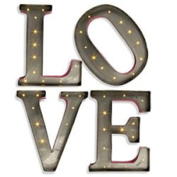 Metal LED Love Letters