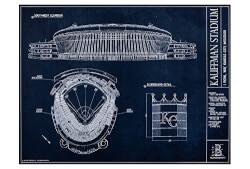 Kauffman Stadium Blueprint Style Print (Unframed, 18