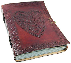 Vintage Heart Embossed Leather Journal