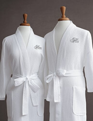Egyptian Cotton Waffle Weave Robe with Couple's Embroidery