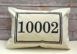 Personalized Pillow Zip Code