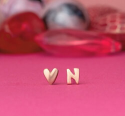 Initial and Heart Earrings