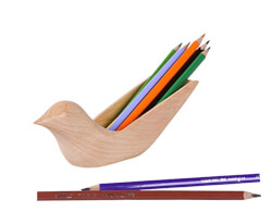 Wooden Bird Pen Holder
