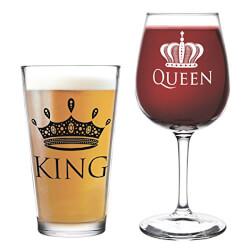 King Beer Queen Wine Glass