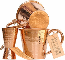 Moscow Mule Copper Mugs with Jigger