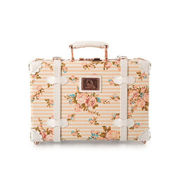 Floral Leather Suitcase