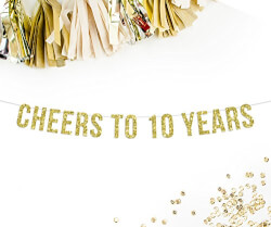 Cheers To 10 Years Gold Glitter Party Banner