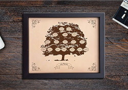 Leather Engraved Family Tree
